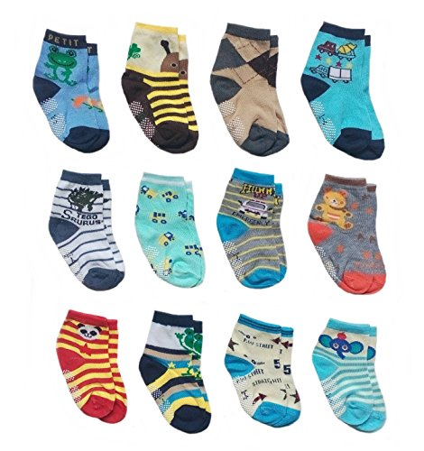 Deluxe Anti Non Skid Slip Slippery Crew Socks With Grips For Baby Toddler Kids Boys (2-4 Years, 12 pair/assorted) - Infant Deluxe Little Monkey