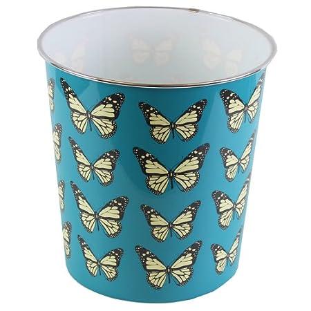 JVL Poubelle Fantaisie Bleue en Plastique - 25x 26, 5cm - avec Papillons - pour Maison 16-293BL