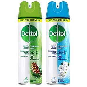 Dettol Multi-Purpose Disinfectant Spray For Hard & Soft Surfaces, Spring Blossom- 170 g & Original Pine- 170 g