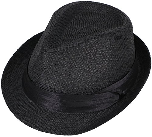 (Livingston Unisex Summer Straw Structured Fedora Hat w/Cloth Band, Black,)