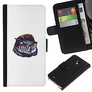 LECELL--Cuero de la tarjeta la carpeta del tirón Smartphone Slots Protección Holder For Samsung Galaxy S4 Mini i9190 -- Búho lindo de Gentleman --