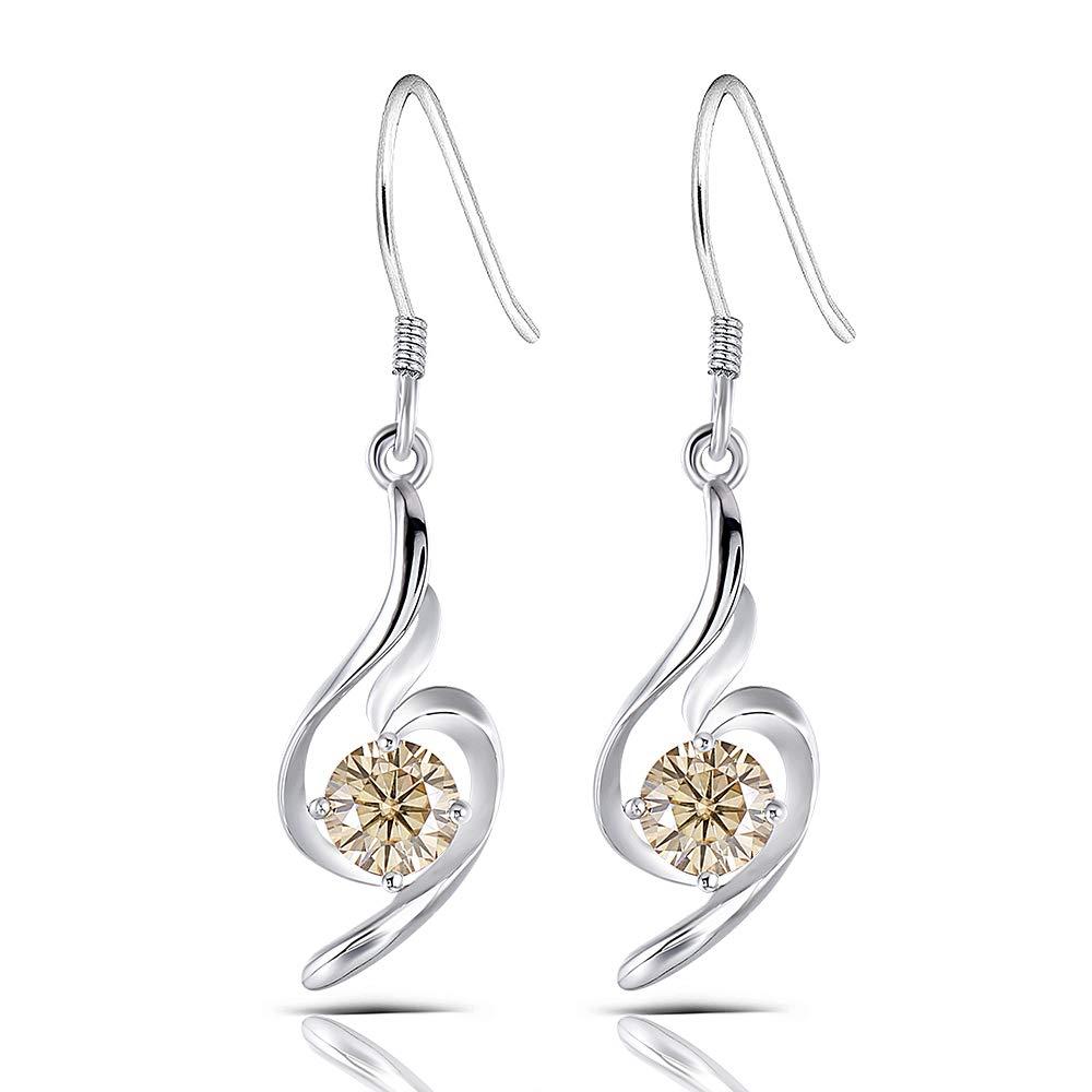 Platinum Plated Silver 1ct 5mm Tea Yellow Heart Arrows Cut Moissanite Dangle Earrings Drop Earrings for Women 8mm Width 34mm Height