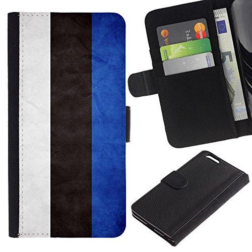 OMEGA Case / Apple Iphone 6 PLUS 5.5 / Estonia Grunge Flag / Cuir PU Portefeuille Coverture Shell Armure Coque Coq Cas Etui Housse Case Cover Wallet Credit Card