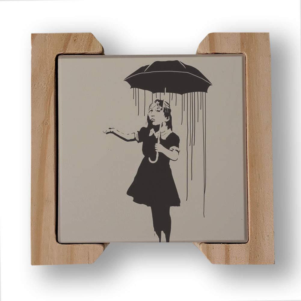 Banksy Collection コースター4枚セット 木製コースターホルダー付き 吸収性セラミックドリンクコースター 男女兼用   B07F2K77HC