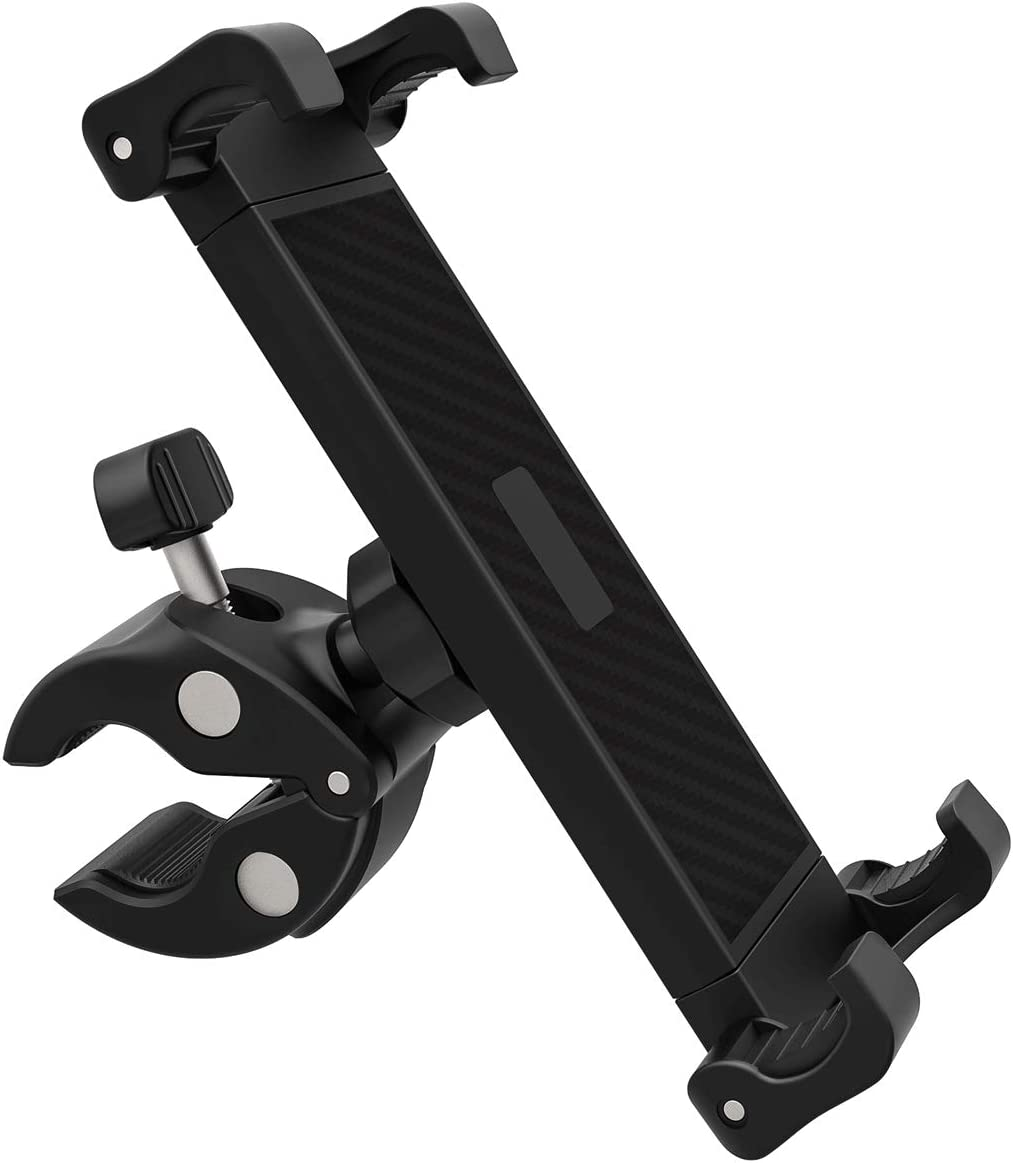 DHYSTAR Tablet Mount Holder for Music Microphone Mic Stand Poles,Indoor Gym Handlebar on Stationary Cycling Bicycle