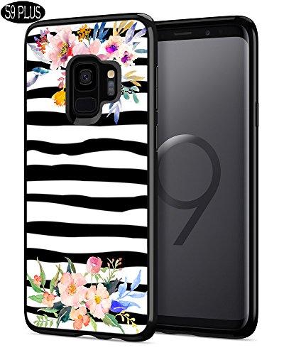 S9 Plus Phone Case,Casililor [TPU] [Anti-Slip] Black Premium Slim Protective Zebra Cover Case for Samsung Galaxy S9 Plus - Zebra Watercolor Flowers