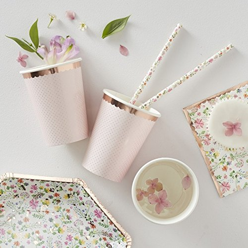 Bridal Shower Baby Shower Girls Birthday Pink Polka Dot Paper Cups 9 oz Pk 16 Bridal Rose Cup