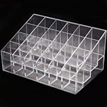 NSSTAR Clear Acrylic Trapezoid 24 Stand Lipstick Nail Polish Organizer Makeup Cosmetic Display Holder Case Storage
