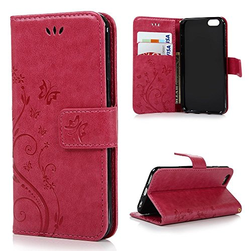 iPhone 6, iPhone 6s 4.7 Inch Case - MOLLYCOOCLE Natural Luxury Hot Pink Stand Wallet Purse Credit Card ID Holders Magnetic Flip Folio TPU Soft Bumper PU Leather Ultra Slim Fit Cover for iPhone 6, 6s -