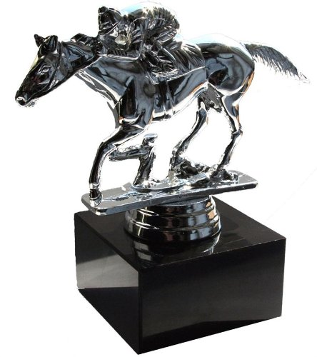 Horse and Jockey Silver Trophy/Balloonweight Figure ()