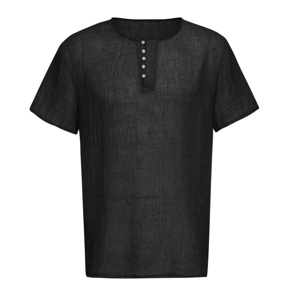 Mens Casual Loose Fit Short Sleeve Henley Retro Solid Color T-Shirts Cotton Linen Shirts,Comfortable and Breathable