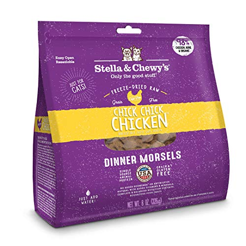 Stella & Chewy's Freeze-Dried Raw Chick, Chick, Chicken Dinner Morsels Grain-Free Cat Food, 8 oz bag (They Re Made Of Meat Short Story)