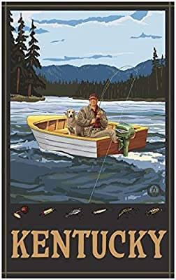 Kentucky Fisherman In Boat Hills Travel Art Print Poster by {Artist.FullName} ({OutputSize.ShortDimensions})