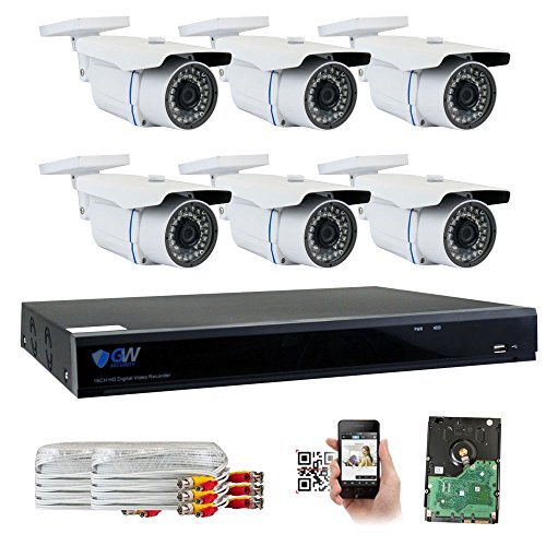 GW Security 8 Channel CCTV 5MP 2.5X 1080P Security Surveillance DVR System with 6 x Super 5.0MP HD 1920p 2592TVL Weatherproof Security Cameras,110ft IR Night Vision,2TB HDD