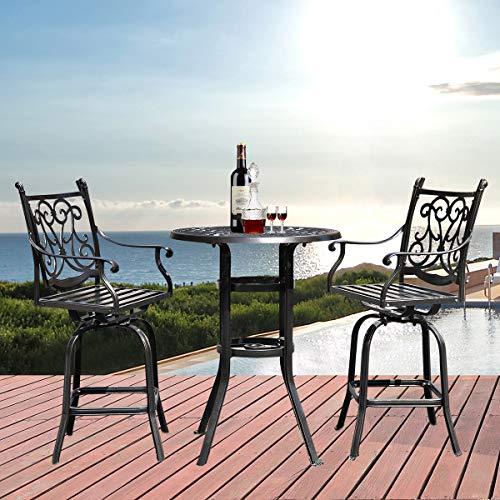 3 PCS Table and Stools Set Cast Aluminum Bistro Set Antique Bronze Pub Table ()