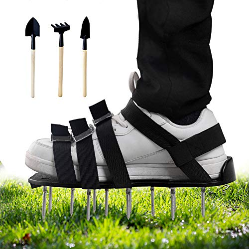 Mavicen Lawn Aerator Shoes with Zinc Alloy Buckles and 4 Adjustable Straps for Aerating Your Yard, Lawn, Roots & Grass Extra Mini Wrench and 3 Shovels Included (Black)