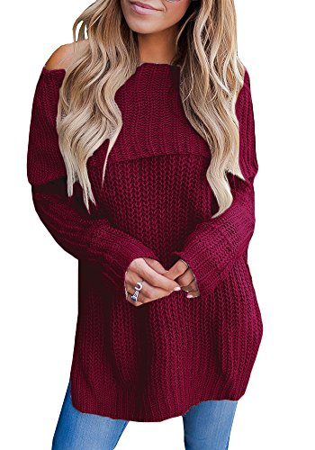 Off Shoulder Knit Sweater Top (Valphsio Womens Off The Shoulder Sweater Oversized Knit Long Sleeve Sweaters Tunic Tops)