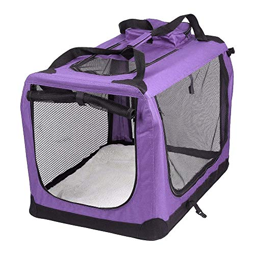 AVC Portable Soft Fabric Pet Carrier Folding Dog Cat Puppy Travel Transport Bag (Large, Purple)