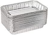 Pack of 50 Disposable Aluminum Foil Toaster Oven Pans -Mini Broiler Pans | BPA Free | Perfect for Small Cakes or Personal Quiche | Standard Size - 8 1/2'' x 6''