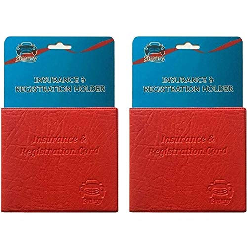 (2 Red AUTO CAR TRUCK INSURANCE REGISTRATION ID CARD HOLDER Embossed Faux Leather Unisex Accessories)