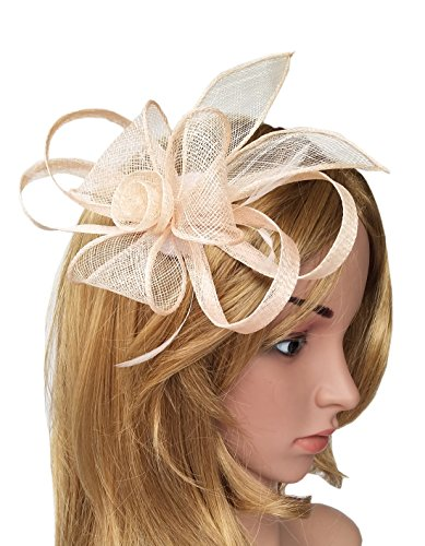 Biruil Sinamay Fascinator Hat Feather Mesh Pillbox Flower Derby Tea Party Headband (Style 1 Peach) by Biruil