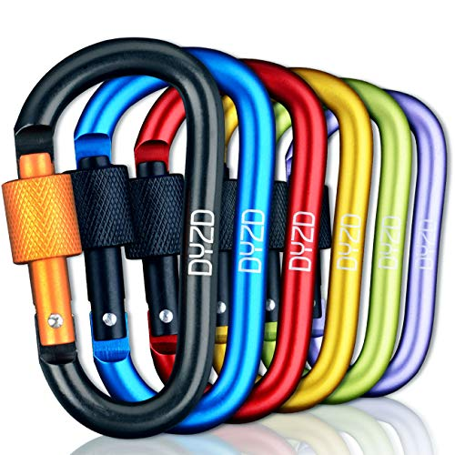 Carabiner Keychain Aluminum Alloy D Ring Keychain Screw Locking Spring Clip Hook Keyring Clip Hook Outdoor Buckle for Camping, Hiking, Fishing (6 PCS)