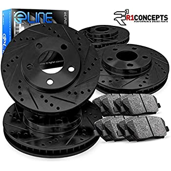 Fit 2008-2011 Cadillac CTS Front Sport Drill Slot Brake Rotors+Ceramic Brake Pad
