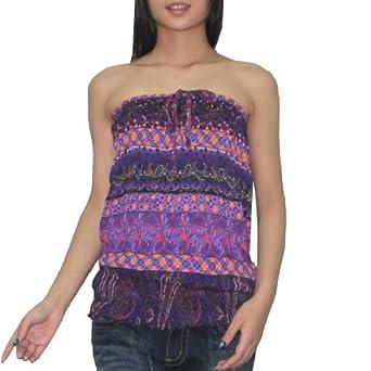 ab73c8008da Womens Thai Boho Gathered Crinkle Halter Tube Tunic Top   Shirt Multicolor   Amazon.co.uk  Clothing