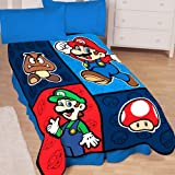 Nintendo Super Mario Time to Team Up 50-by-60-Inch Microraschel Throw Blanket