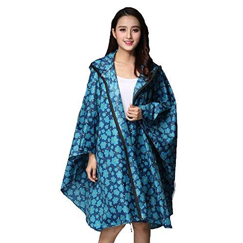 Secutey Bleu Fleurs Adulte Impermable Femelle Manteau Extrieur Grande Taille Poncho Ultra-Mince Impermable Impermable Impermable  L'eau Promenade Extrieur Impermable