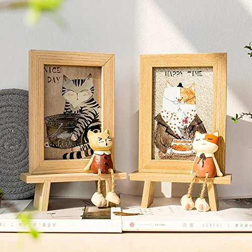 DecentGadget 4X6 Wooden Animal Picture Frame With Artificial Cat (Boy) by DecentGadget (Image #3)