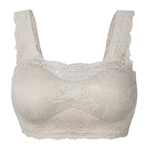 Minetom Frauen Sexy Bustier Korsett Rückenfrei Blumendruck Spitze Kabellos Bra Dünnschnitt Bikini Tops Oberteile BH Nackt BlHLbPOR