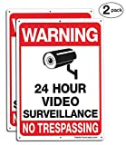 Faittoo 2-Pack Video Surveillance Sign, No Trespassing Metal Reflective Warning Sign, 10''x 7'' 0.40 Aluminum Indoor Or Outdoor Use for Home Business CCTV Security Camera,UV Protected & Waterproof
