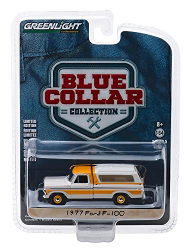 M&J 1977 Ford F-100 Pickup Truck with Camper Shell Cream & Orange Blue Collar Collection Series 5 1/64 Diecast Model Car by Greenlight 35120 D, Multicolor