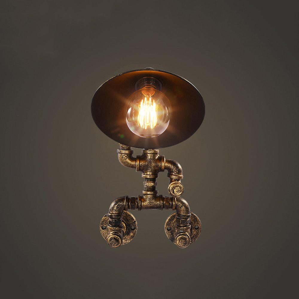 Retro wall lamp Water pipe wall lamp Industrial wall lamp Iron wall lamp E26 bulb1 Bedroom Bar Hotel balcony Basement Garage Height 15.8 Inch 31W-40W (bronze)