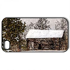 lintao diy abandoned log cabin in winter - Case Cover for iPhone 4 and 4s (Houses Series, Watercolor style, Black)