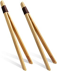 Bamboo 7 Inch Toaster Tongs for Toast Tea Bread Cooking, Eco-Friendly, Modern Kitchen Accessory for Home Restaurant(Set of 2)