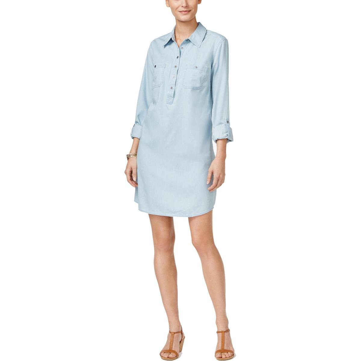 Style & Co. Womens Petites Chambray Adjustable Sleeves Shirtdress Blue PL