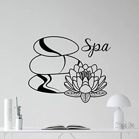 supmsds SPA Salon Wall Decal Beauty SPA Stones with Lotus ...
