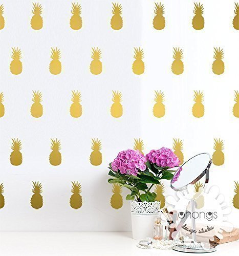 A Pineapple In The Room Wall Decal Pineapples Sticker Modern Gold