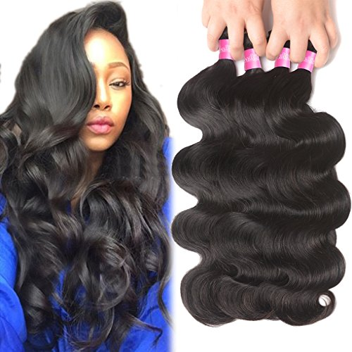 Brazilian Human Hair Body Wave 4 Bundles 10A Brazilian Hair Bundles 18 20 22 24inch Brazilian Body Wave Virgin Hair Bundle Deals Unprocessed Remy Human Hair Weaves Brazilian Hair Extensions