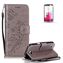 LG G3 Case Cover [with Free Screen Protector], Funyye Elegant Premium Folio PU Leather Wallet Magnetic Flip Cover with [Wrist Strap] and [Credit Card Holder Slots] Stand Function Book Type Stylish Butterfly Leaf Vines Designs Full Protection Holster Case Cover Skin Shell for LG G3 - Gray