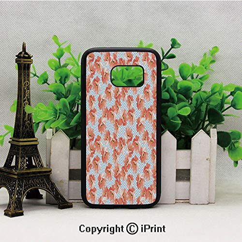 Soft Pastel Poppy Flowers on Chevron Zigzag Backdrop Romantic Feminine Customized mobile Samsung S7 case Hard Back Shock Drop Proof Impact Resist Protective Case for Samsung S7 Coral Light Blue Yellow