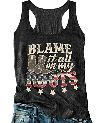 Womens Western Tank Tops Teen Girls Country Music Funny Cowgirl Letter Graphic Vest Vintage Summer Sleeveless T Shirt ... (Small, Dark Grey) ()