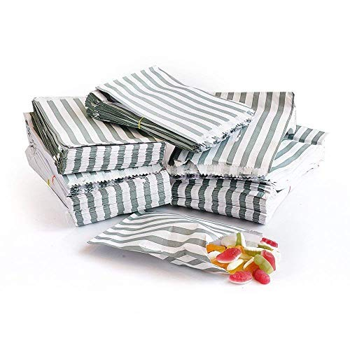 bag it Paper Silver Candy Stripe Paper Bags Recyclable and Biodegradable 10″ x 14″ / 250mm x 350mm – (Pack of 100)