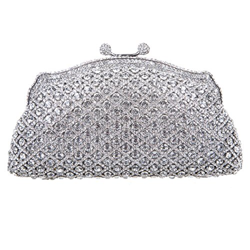 Fawziya Kiss Lock Evening Bags For Womens Clutch Purses And Handbags-Silver