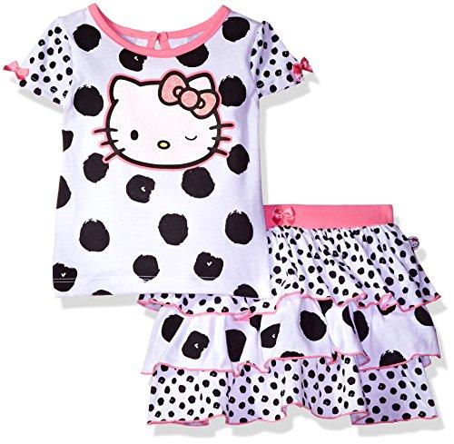 Hello Kitty Skirt (Hello Kitty Little Girls' Toddler 2 Piece Skirt Set, White/Black Combo, 3T)