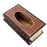 Elegant Facial Tissue Dispenser Box Antique Book Design Wood + Colorful Painted Novelty Napkin Holder ZH01