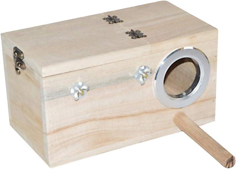 POPETPOP Caja Nido de Madera para Periquitos - Caja de Cría de Madera para Periquitos de Casa de Pájaros para Agapornis Caja de Apareamiento para Loros Tamaño Pequeño 20 X 12 Cm