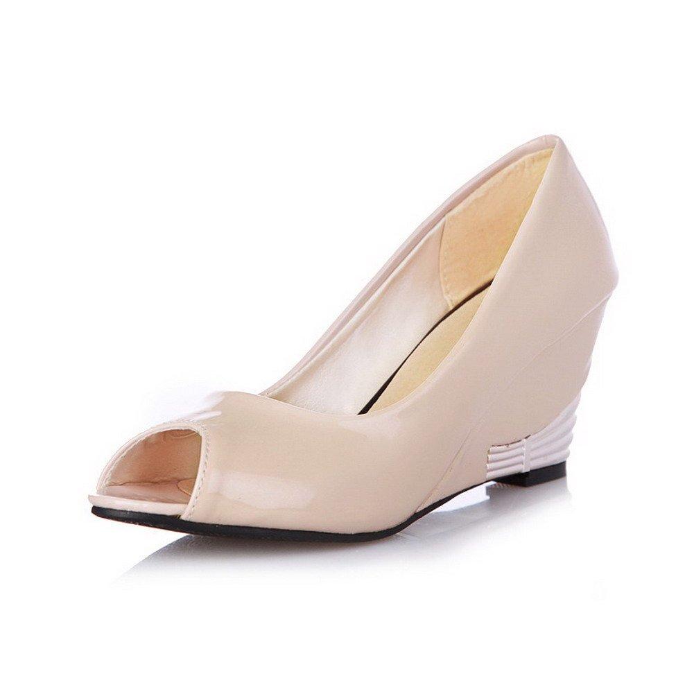 WeiPoot Women's PU Solid Pull-on Peep Toe High-Heels Wedges-Sandals, Beige, 40